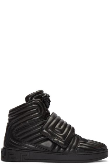 Versace - Black Quilted Medusa High-Top Sneakers