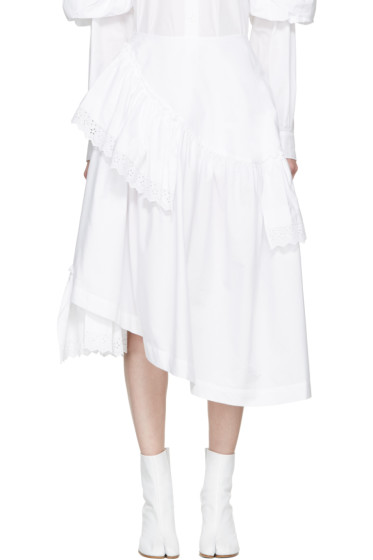Simone Rocha - White Poplin & Broderie Anglaise Tiered Skirt