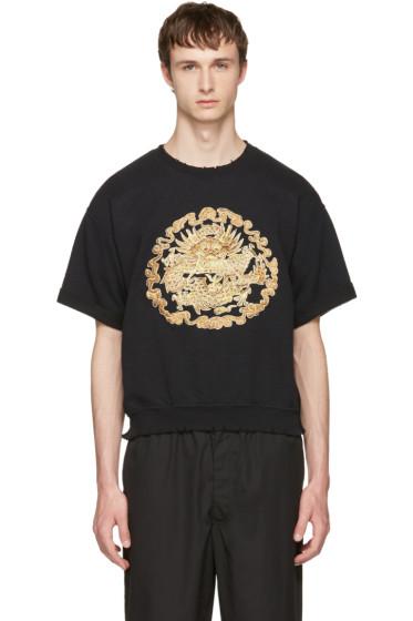 Sasquatchfabrix - Black Distressed Graphic Sweatshirt
