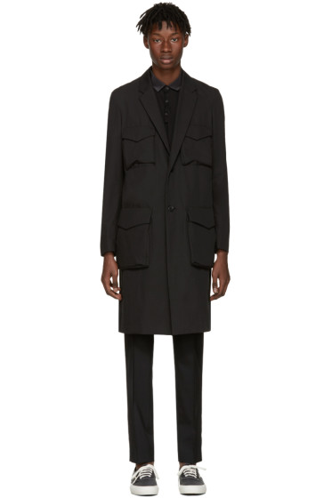 Undercover - Black Long Cargo Pockets Trench Coat