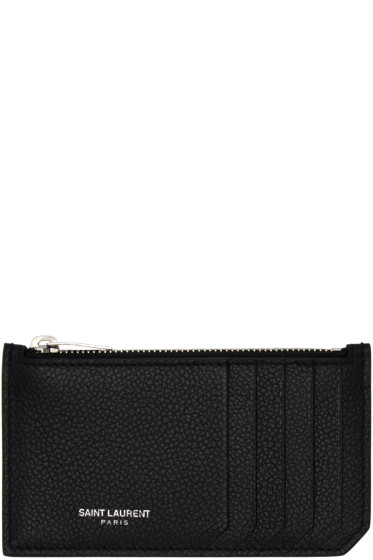 Saint Laurent - Black 5 Fragments Zip Card Holder