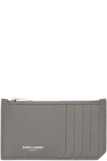 Saint Laurent - Grey 5 Fragments Zip Card Holder