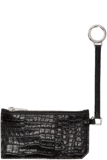 Saint Laurent - Black Croc-Embossed 5-Fragments Keyring Zip Card Holder