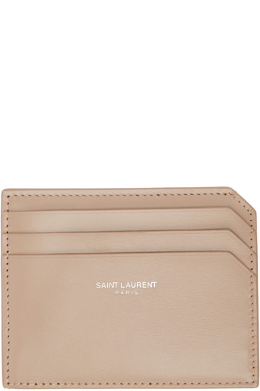 Saint Laurent - Beige Fragments Credit Card Holder