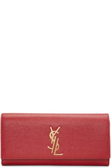 Saint Laurent - Red Deconstructed Monogram Kate Clutch