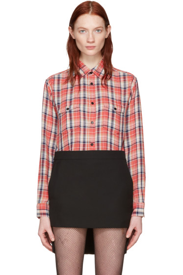 Saint Laurent - Pink Classic Western Plaid Shirt