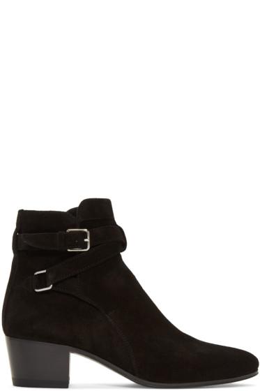 Saint Laurent - Black Suede Blake Jodhpur Boots