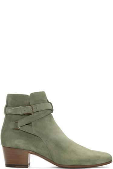 Saint Laurent - Khaki Suede Blake Jodhpur Boots