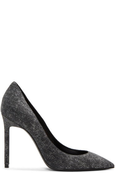 Saint Laurent - Black Denim Anja Heels