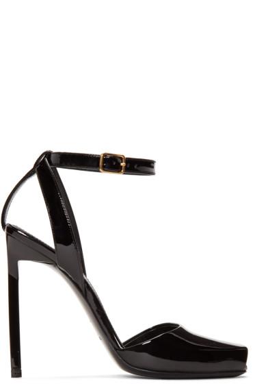 Saint Laurent - Black Patent Leather Edie Peep Toe Sandals