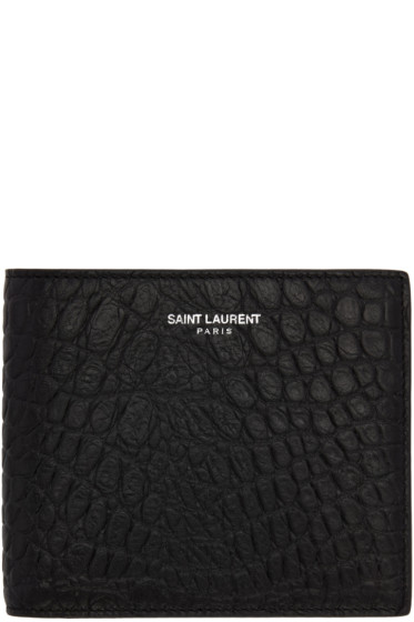 Saint Laurent - Black Croc-Embossed East/West Wallet