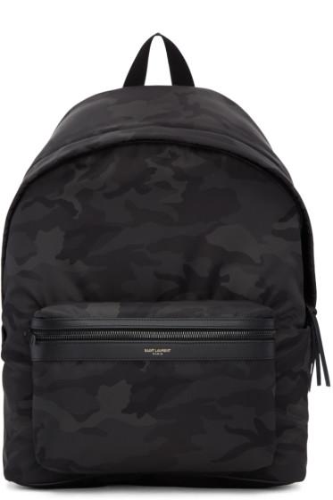 Saint Laurent - Black Camo City Backpack