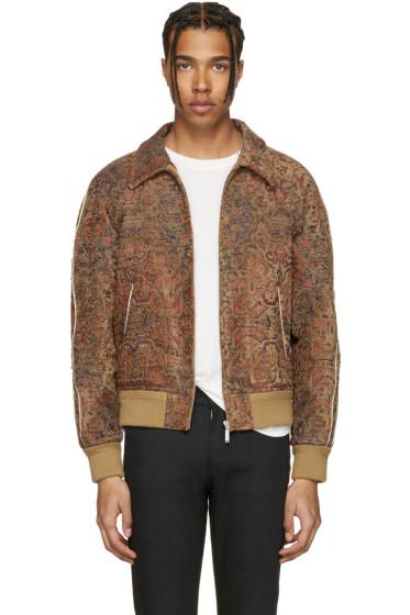 Saint Laurent - Tan Tapestry Teddy Bomber Jacket