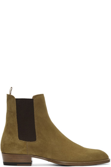 Saint Laurent - Tan Suede Wyatt Boots