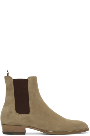 Saint Laurent - Tan Suede Wyatt Chelsea Boots