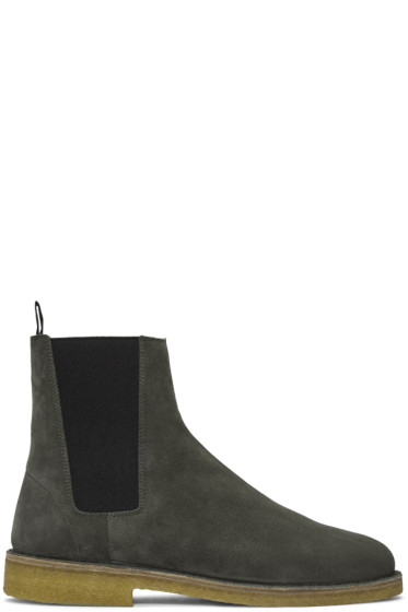 Saint Laurent - Grey Suede Nevada Boots