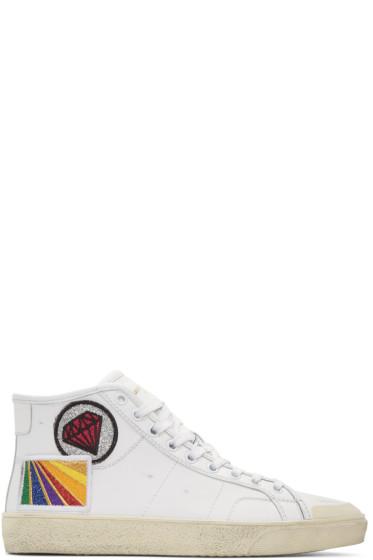 Saint Laurent - White Diamond SL/37M Surf Court Classic Mid-Top Sneakers