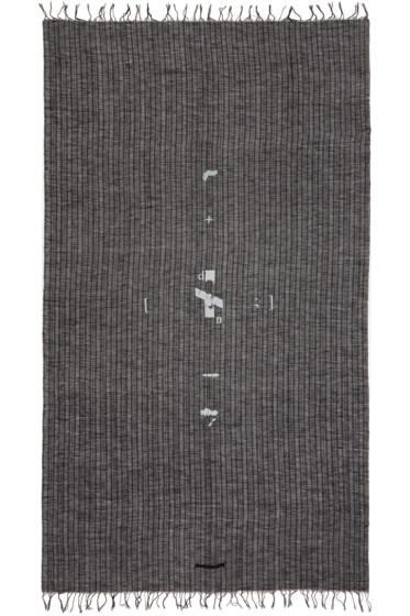 Julius - Black Linen Print Scarf