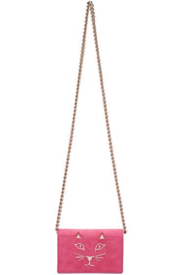 Charlotte Olympia - Pink Suede Feline Bag