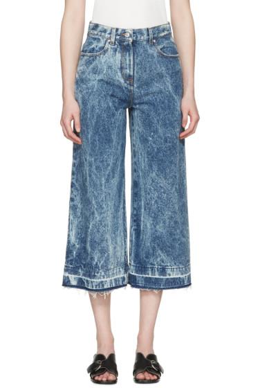 MSGM - Blue Marbled Denim Wide-Leg Jeans