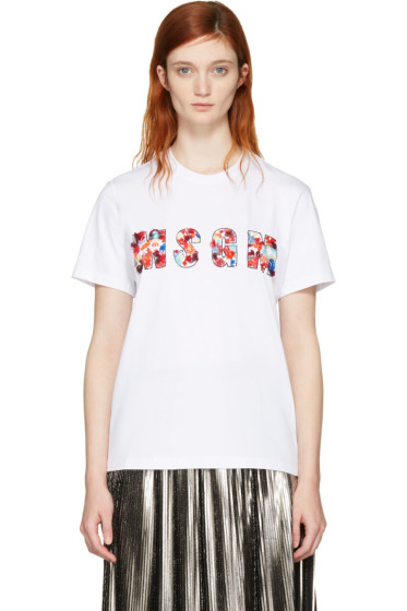 MSGM - White Sequin Logo T-Shirt