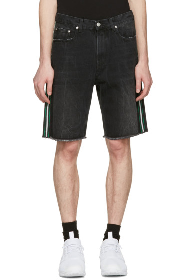 MSGM - Black Side Stripes Denim Shorts