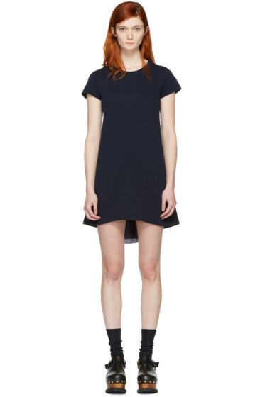Sacai - Navy Fan Back Dress