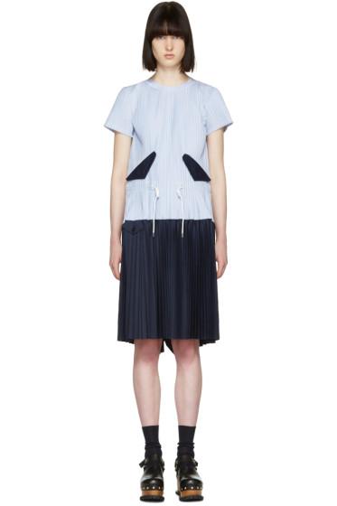Sacai - ブルー ストライプ プリーツ トグル ドレス