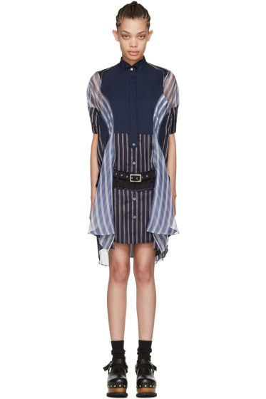 Sacai - Navy Striped Shirt Dress
