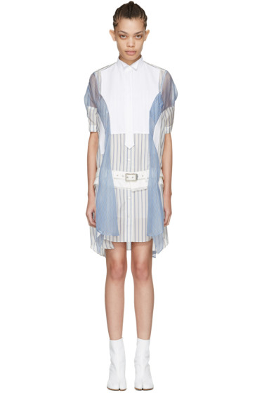 Sacai - Off-White Striped Shirt Dress