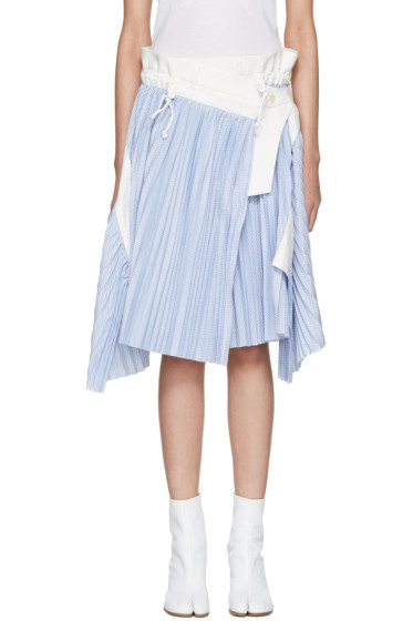 Sacai - Blue Striped Cole Skirt