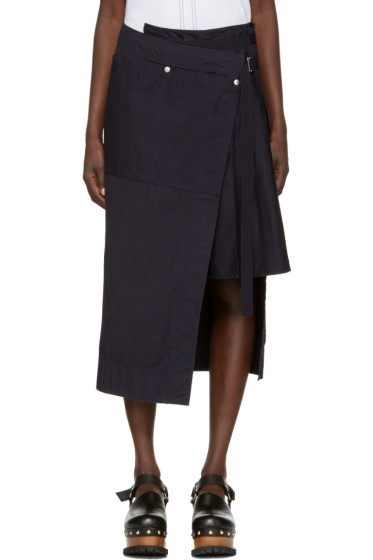 Sacai - Navy Overdyed Wrap Skirt