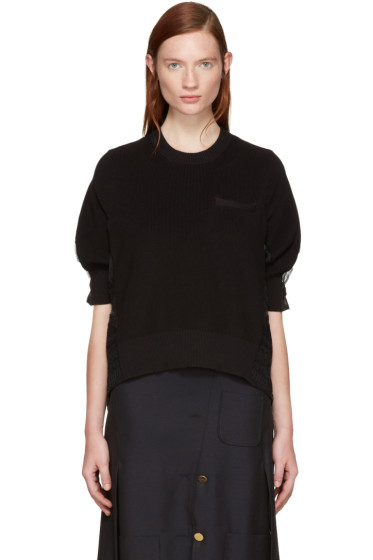 Sacai - Black Tribal Lace Pullover