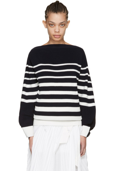 Sacai - Navy Striped Laced Pullover