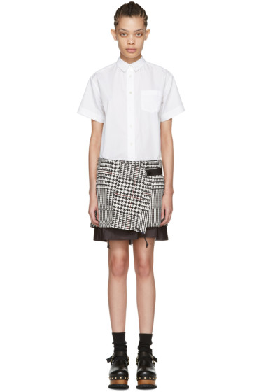 Sacai - White Check Waist Shirt Dress