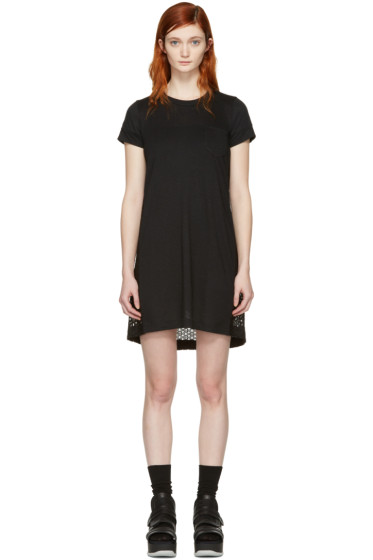 Sacai - Black Dot Lace T-Shirt Dress