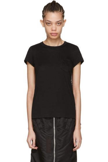 Sacai - Black Striped Panels T-Shirt