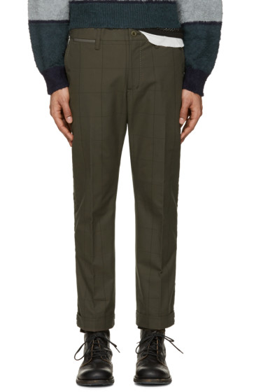 Sacai - Green Box Check Trousers