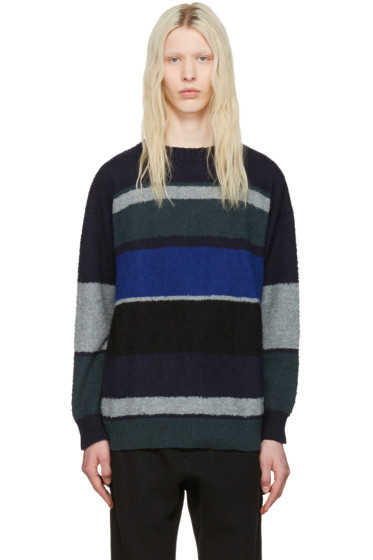 Sacai - Navy & Grey Bouclé Sweater