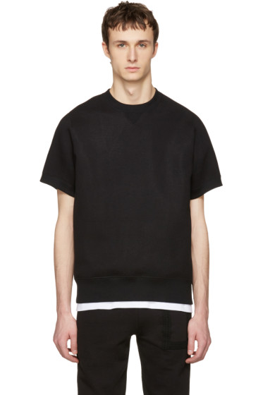 Sacai - Black Sweats Short Sleeve Pullover