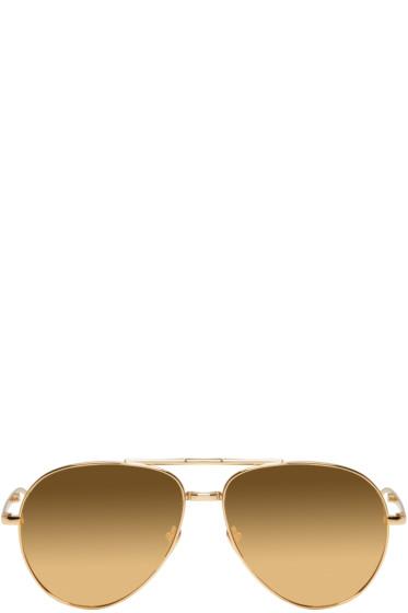Linda Farrow Luxe - Gold 518 Aviator Sunglasses
