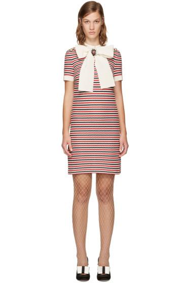 Gucci - トリコロール ストライプ ボウ ドレス