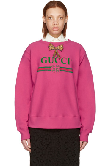 Gucci - Pink Bow Logo Pullover
