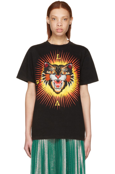 Gucci - Black 'Modern Future' Angry Cat T-Shirt