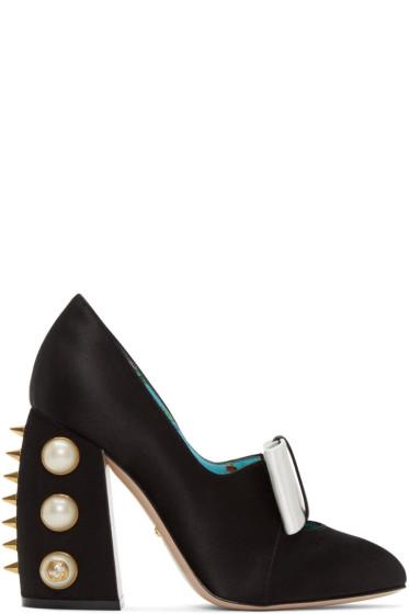 Gucci - Black Satin Studded Luna Heels