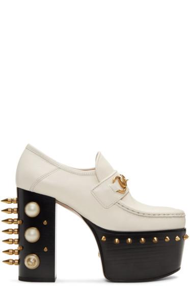 Gucci - Off-White Vegas Platform Loafer Heels