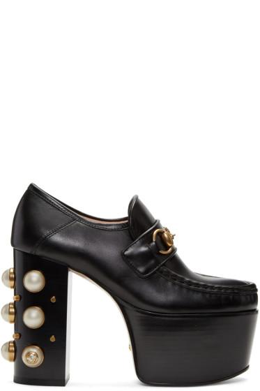 Gucci - Black Vegas Platform Loafer Heels