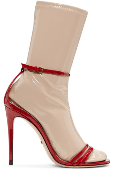 Gucci - Red Ilse Naked Sock Sandals