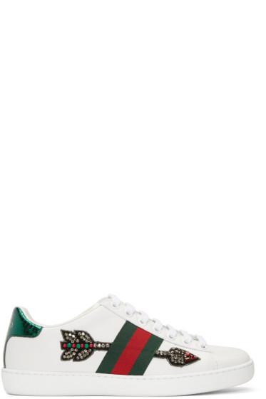 Gucci - White Bleeding Arrow Ace Sneakers