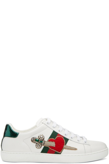Gucci - White Pierced Heart Ace Sneakers